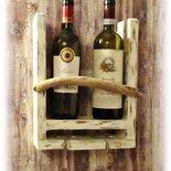 Portabottiglie da parete con legno di mare