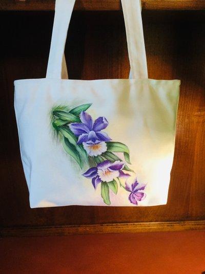 Borsa in tessuto realizzata e dipinta a mano. Originale idea regalo.