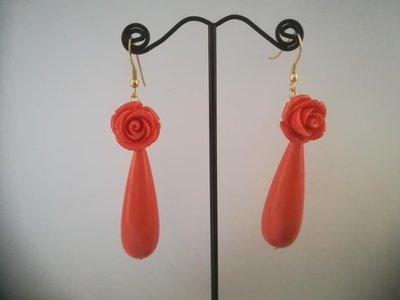 Orecchini Goccia (e) rosa: tripudio di arancio (spedizione gratuita!)
