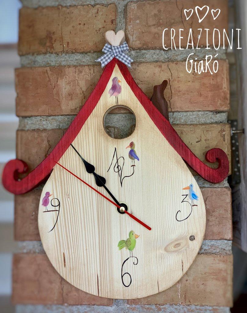 Orologio in legno massello