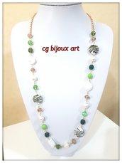 collana lunga verde con mezzi cristalli verdi e catena dorata