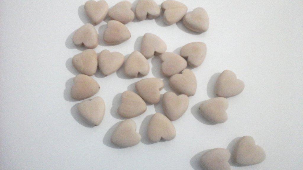 Materiale per catenelle portaciuccio, set di 25 cuori in legno naturale