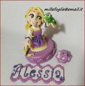 Cake Topper Principessa Rapunzel e pascal in pasta di zucchero