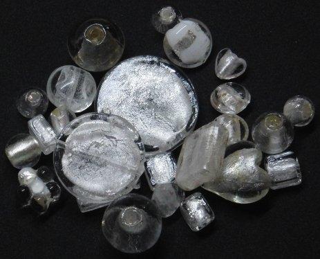 Perline vetro mix foglia argento