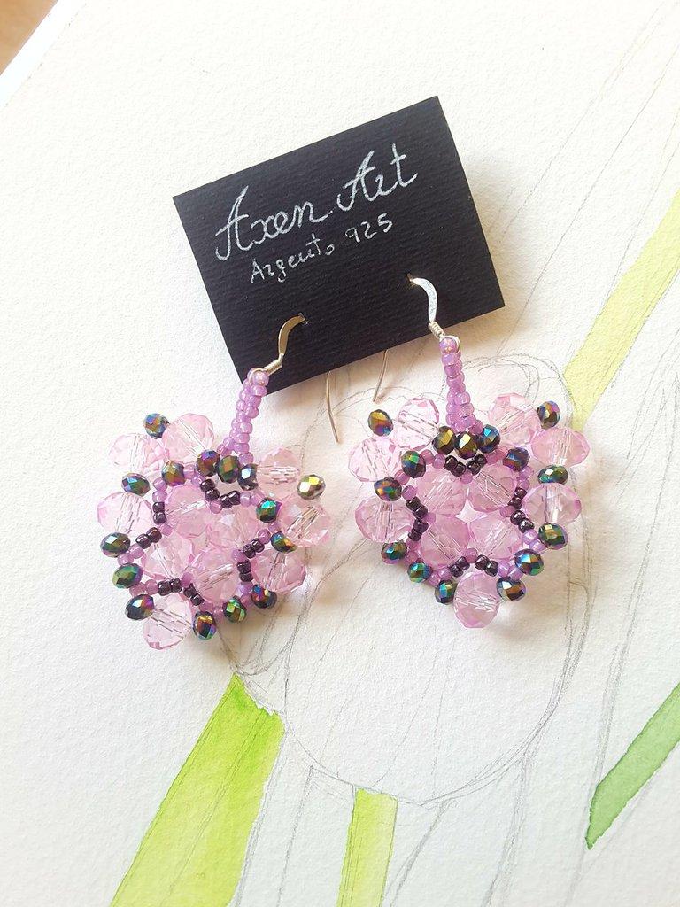 Cristalli e argento 925, orecchini cuore in tessitura di perline, rosa e verde, pezzo unico, modello originale, idea regalo, festa della mamma, compleanno.