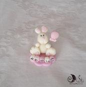bomboniera battesimo coniglietto statuina personalizzabile con cubi nome