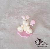 Bomboniera animaletti coniglio bianco con palloncino personalizzabile per bimba