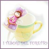 """Cerchietto """" Fufuangel rosa acceso """" angelo angioletto comunione cresima cerimonia idea regalo bambina personalizzabile accessori capelli"""