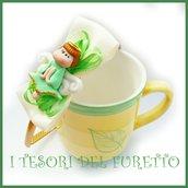 """Cerchietto """" Fufuangel verde  """" angelo angioletto comunione cresima cerimonia idea regalo bambina personalizzabile accessori capelli"""