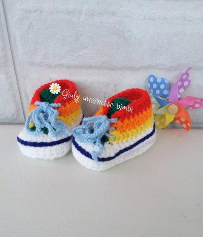 Scarpine stile converse all star, per neonati, multicolor realizzate in lana 100% italiana