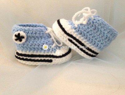 Scarpine stile converse all star, per neonati, azzurre,  realizzate in lana 100% italiana