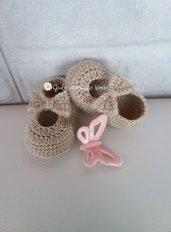 Scarpine a ballerina con fiocco per neonata realizzate in lana con uncinetto scarpette neonato