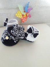 Scarpine sandaletti per neonata realizzate in cotone con uncinetto portafortuna neonato
