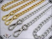 Catena per borsa, lunga cm.40 x mm.11 disponibile in 6 misure e 2 colori: oro e argento