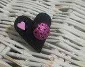 Anello portafortuna cuore coccinella glitter Fuxia Idea regalo