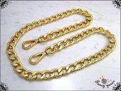 Catena per borsa, lunga 80 cm. x mm.15, maglia gourmette laminata, colore oro, moschettoni extra lusso