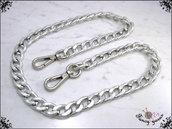 Catena per borsa, lunga 40 cm. x mm.15, maglia gourmette laminata, colore argento, moschettoni extra lusso