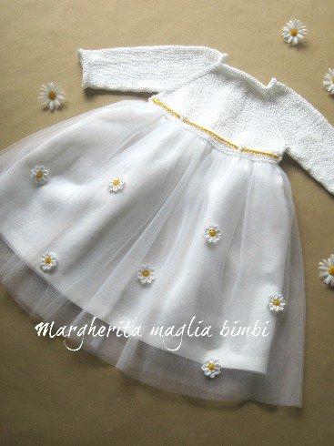 Abito vestito Battesimo bambina cotone bianco, gonna in lino e tulle con margherite
