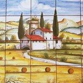Paesaggio dipinto su mattonelle di maiolica