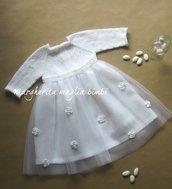 Abito Battesimo bambina -  vestito/vestitino cotone bianco/lino/tulle con fiori bianchi