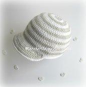 Cappello/cappellino con visiera bambino - cotone a righe bianco/grigio - battesimo