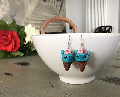 Unicorno gelato orecchini in fimo
