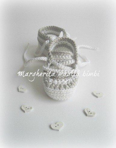 Scarpine/sneakers bambino cotone righe bianche e grige - fatte a mano - uncinetto