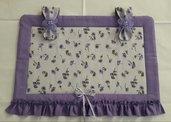 Copriforno provenzale viola lilla con anemoni e fiori in organza