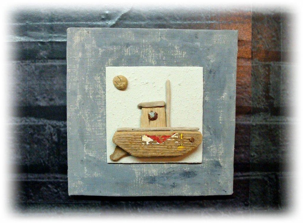"""Quadro con legni di mare """"Le bateau"""""""