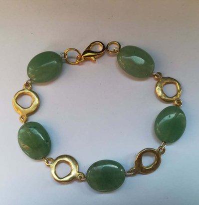 """Bracciale """"Sogno di giada"""" verde e oro"""