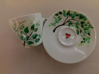Tazzine in ceramica foglie