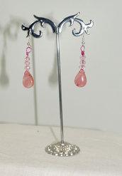 Orecchini Wire e goccia rosa