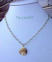 Girocollo a rosario con micro cristalli e ciondolo Albero della Vita in acciaio brunito