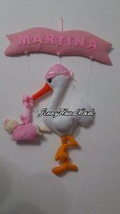 Cicogna fiocco nascita pannolenci con banner