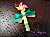 Molletta decorata con girandola per bomboniera o segnaposto feste