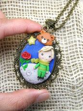 Collana Piccolo Principe cammeo fimo dolls necklace clay Kawaii
