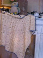Copertina culla o carrozzina, in pura lana merino 100% anallergica, lavorata ai ferri