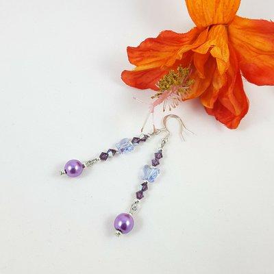 Cristallo swarovski, farfalle, orecchini lilla pendenti, pezzo unico, modello originale, idea regalo, donna, bambina, compleanno, festa della mamma.