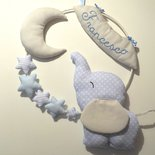 Fiocco nascita elefantino – Fiocco nascita di stoffa – Fiocco nascita con stelle