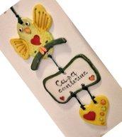 Uccellino targa e cuore per decorazione da parete manufatta di ceramica per cameretta o altro ambiente