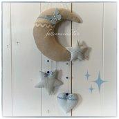 Fiocco nascita luna in cotone ecrù con stelle,cuore e farfalla azzurri