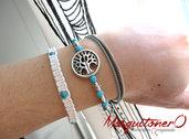 Bracciale donna albero della vita in perle in pietra dura e perle argento irregolari, macramè cotone bianco Boho stile etnico per lei