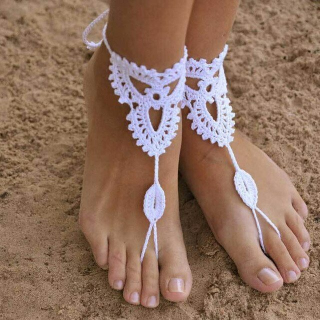 Gioiello per i piedi, coppia di cavigliere in cotone all'uncinetto