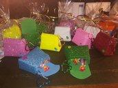 idea segnaposto bomboniera ricordo cerimonie feste compleanni borsetta portachiavi