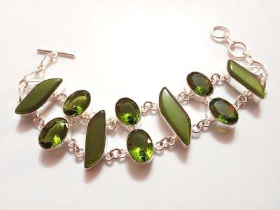 bracciale elegante smeraldo e peridoto