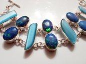 Bracciale opale blu e larimar