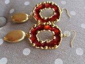 Orecchini oro e rosso