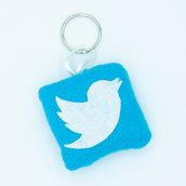 Gadget icona twitter, 6 x 6 cm