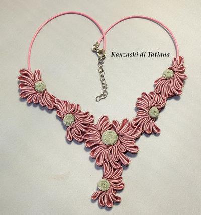 Collana kanzashi con fiori 4.0