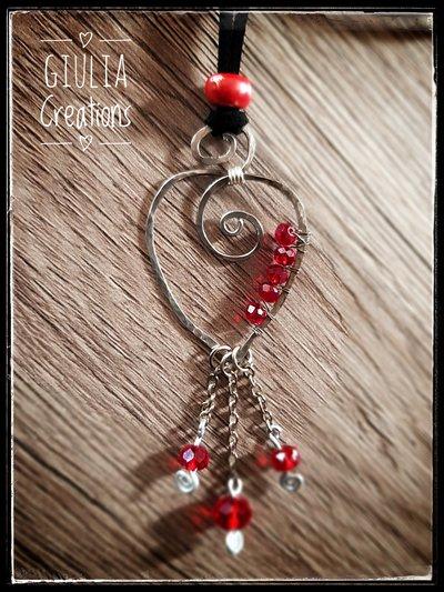ciondolo gipsy  perle rosse